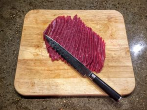 Beef sliced for marinating jerky