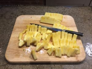 Cut the pineapple into chunks