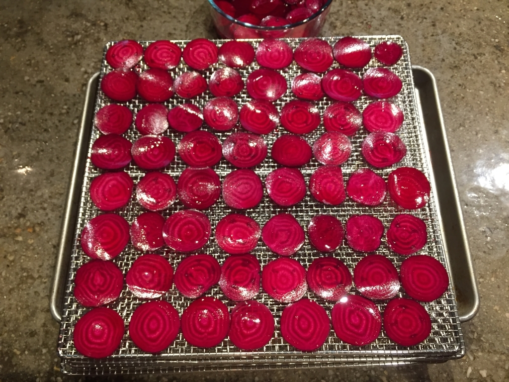 Sliced Beet Chips On The Dehydrator Tray